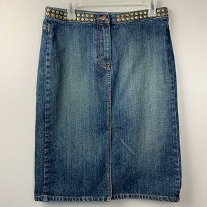 J Crew Rivet Waist Midi Denim Skirt Boho Size 8